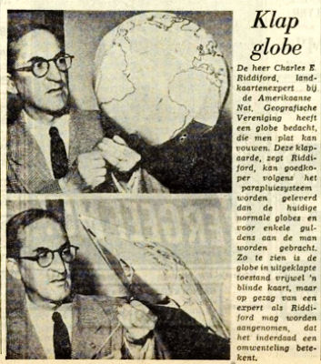 Newspaper article: American cartographer develops collapsible globe